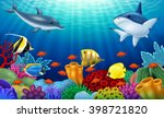 beautiful underwater world with ... | Shutterstock .eps vector #398721820
