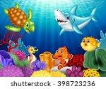 Cartoon Tropical Fish And...