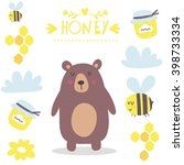 funny cartoon honey and bear... | Shutterstock .eps vector #398733334