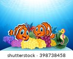 cartoon clown fish and seahorse ... | Shutterstock . vector #398738458