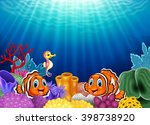 cute clown fish and seahorse in ... | Shutterstock .eps vector #398738920