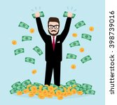 hipster businessman throwing... | Shutterstock .eps vector #398739016