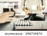coffee glasses table with free...   Shutterstock . vector #398739874