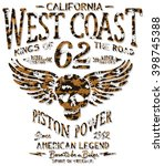 west coast motorcycle with... | Shutterstock .eps vector #398745388