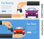 rent and buying car horizontal... | Shutterstock .eps vector #398751688