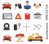 car service flat icons set for... | Shutterstock .eps vector #398751724