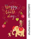 colorful cute happy birthday... | Shutterstock .eps vector #398753890