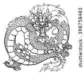 furious asian dragon black... | Shutterstock .eps vector #398758483