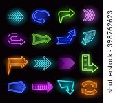 neon realistic arrows set... | Shutterstock .eps vector #398762623