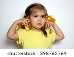 cute little girl with yellow... | Shutterstock . vector #398762764