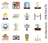 museum flat icon set with... | Shutterstock .eps vector #398764270