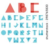 red and blue creative font  abc ... | Shutterstock .eps vector #398765830
