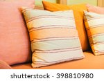 pillow on sofa decoration in... | Shutterstock . vector #398810980
