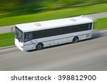 white bus moving on the city... | Shutterstock . vector #398812900