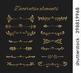 golden dividers set. ornamental ... | Shutterstock .eps vector #398819968