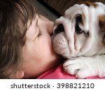 portrait of a child with a dog. ... | Shutterstock . vector #398821210
