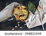 pasta spaghetti with pesto... | Shutterstock . vector #398821549