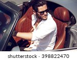 handsome man in the car. luxury ... | Shutterstock . vector #398822470