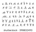 vector hatching shapes athletes ... | Shutterstock .eps vector #398832493