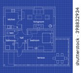 blueprint floor plan of a... | Shutterstock .eps vector #398832934