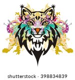 grunge lynx head. colorful... | Shutterstock .eps vector #398834839