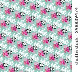 seamless flower pattern with... | Shutterstock .eps vector #398839474