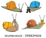 a series of cartoon snails | Shutterstock .eps vector #398839606