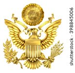 gold great seal of the united... | Shutterstock .eps vector #398845006