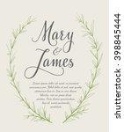 wedding invitation with hand... | Shutterstock .eps vector #398845444