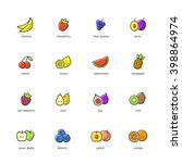 colored fruits icon set | Shutterstock .eps vector #398864974