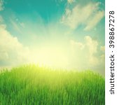 rising sun and fresh green... | Shutterstock . vector #398867278