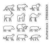 Vector Set Outline African...