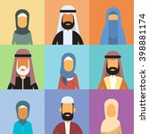 arabic profile avatar set icon... | Shutterstock .eps vector #398881174