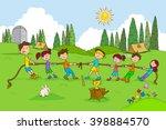 children enjoying summer camp... | Shutterstock .eps vector #398884570