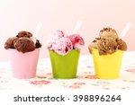 ice cream in metal cup on... | Shutterstock . vector #398896264