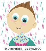 boy with birthday cake. vector...   Shutterstock .eps vector #398902900