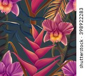 seamless tropical flower  plant ... | Shutterstock . vector #398922283