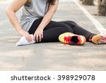 sports injury. woman with pain... | Shutterstock . vector #398929078