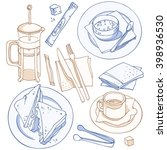 lunch set  french press  sugar  ... | Shutterstock .eps vector #398936530