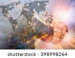 double exposure of businessman... | Shutterstock . vector #398998264