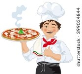 pizza chef with pizza | Shutterstock .eps vector #399024844
