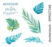 watercolor vector leaves   Shutterstock .eps vector #399027268