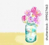 Watercolor Mason Jar With...