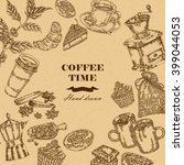 coffee design template. hand... | Shutterstock .eps vector #399044053