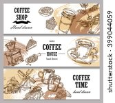 hand drawn coffee horizontal... | Shutterstock .eps vector #399044059