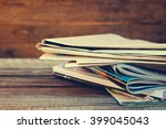 newspapers and magazines on old ... | Shutterstock . vector #399045043