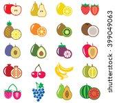 set of fruits flat vector... | Shutterstock . vector #399049063