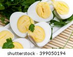 Sliced Boiled Eggs On Long...