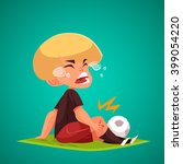 crying boy holding his injured...   Shutterstock .eps vector #399054220