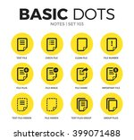 notes flat icons set with text...